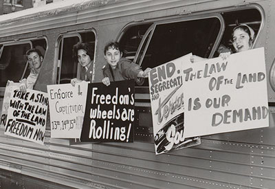 Image of freedom riders on a bus