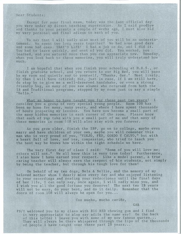GAR Letter Part 1