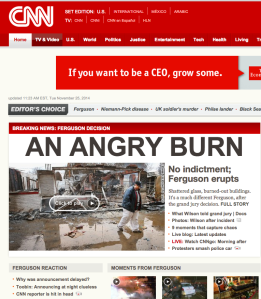 CNN website post Ferguson verdict